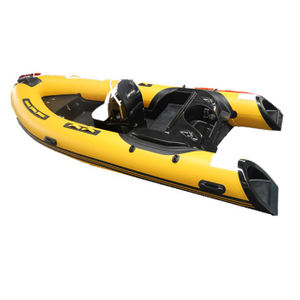 RIB 420 Supplier Hypalon Inflatable Fiberglass Fishing Rigid Boat With Outboard Motor